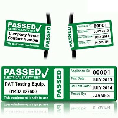 Personalised 'PASS' Cable Wrap PAT Test Labels - (RETEST)