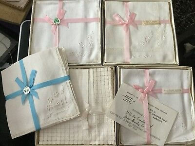 Collection of Vintage Boxed Irish Pure Linen Handkerchiefs