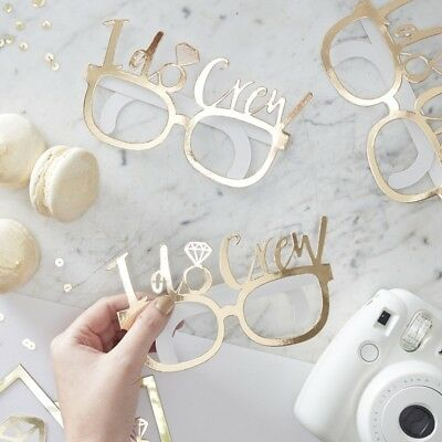I DO CREW HEN PARTY GLASSES x 8 Gold / White Photo Booth Props Classy Hen Do