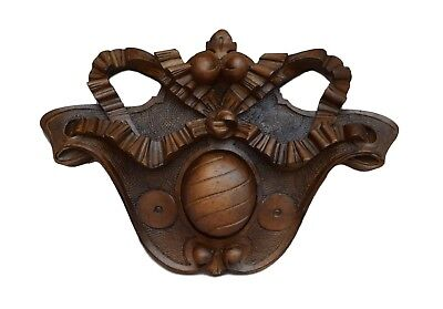 Antique French Hand Carved Wood Bow Pediment Furniture Ornament