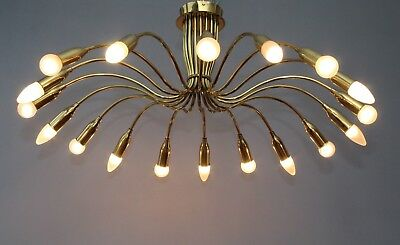 80cm_Messing Spider Sputnik_18 flammig_50's 60's Deckenlampe Rockabilly Stilnovo