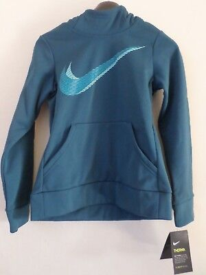 NEW Girls Blue Green Teal Nike Therma Dri Fit Training Hoodie Size: S 8-9 Years