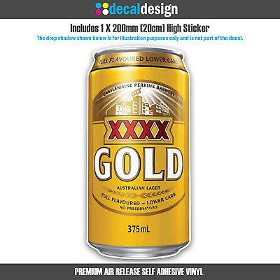 XXXX Gold Beer Can Sticker for Car Window Boat Camping Man Cave Fridge Garage