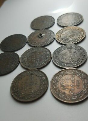 Lot of 10 Canadian 1c Penny 1920 1919 1918 1915 1914 1913 1912 1911 1886 1nodate