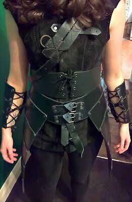 LARP Full Suit Leather Ladies Rogue Armour Body Tassets Bracers CUSTOM HAND MADE