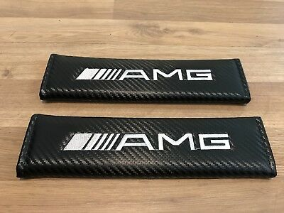 1Pair Seat Belt Cover Pads Carbon Gift Mercedes AMG 63 GTS SLK S CLA A E C Class