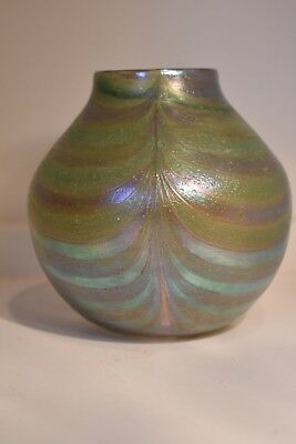 Todd Hansen Signed Art Glass Feather Vase
