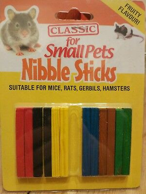 12 Small Animal Fruity Nibble Sticks Hamster Guinea Pig Treats Teeth Gum Care