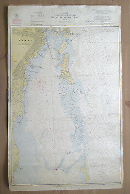 "Vtg 1949 C&GS Nautical CHART #848 INTRACOASTAL WATERWAY FL 24"" x 38.5"""