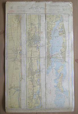 "Vtg 1948 C&GS Nautical CHART #847 INTRACOASTAL WATERWAY FL 24"" x 38.5"""