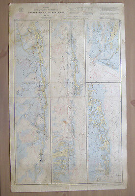 "Vtg 1947 C&GS Nautical CHART #3261 INTRACOASTAL WATERWAY FL 24"" x 38.5"""