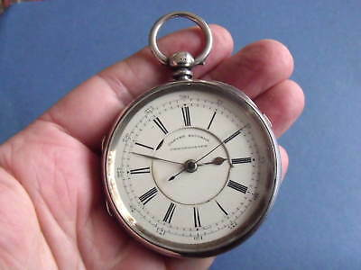Large Silver Centre Secs Chronograph Pocket Watch 'h Wolfe, Manchester' 1894