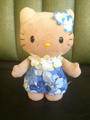 8inch hawaiian hello kitty with blue and white dress 2003 plush toy