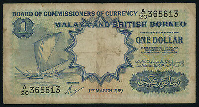 Malaya & British Borneo 1 dollar 1959, P-8a, printed by Waterlow and Sons, F