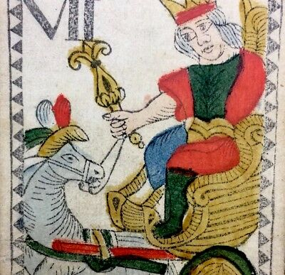 The Chariot Stencil Painted c1768 Authentic Tarot Antique Playing Cards Single