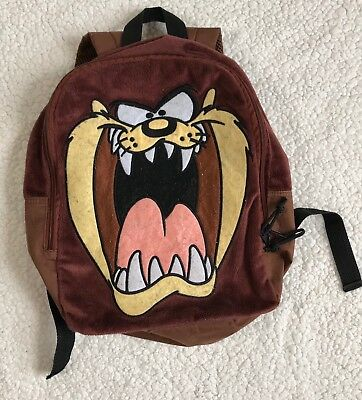 Looney Tunes Taz Fuzzy Backpack Brown Small Book Bag