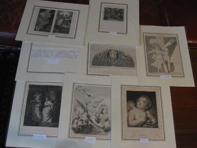 Sammlung Lot 8 Alte Grafiken-Engel-Angel-Putten-Putto-No.884