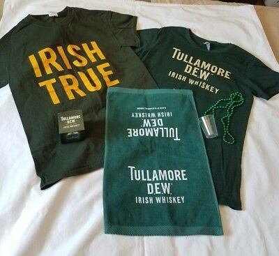 Tullamore Dew lot NEW womens shirts bar towel necklace can coozie St. Patrick's