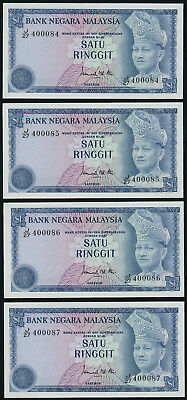 Malaysia 1 ringgit ND (1976-81), P-13a, four consecutive banknotes, all UNC
