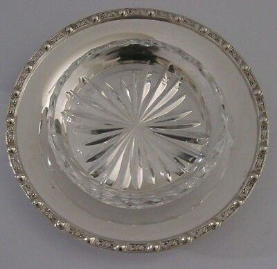 Beautiful Solid Sterling Silver Cut Glass Celtic Dragon Butter Dish / Bowl 1978