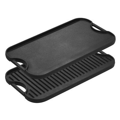Reversible Grill Griddle Large Cast Iron Seasoned with Two Easy Grip Handles