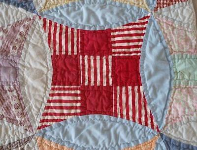 Vintage Nine Patch Quilt Hand Stitched Quilted Feedsacks Cotton Double
