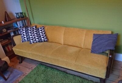 Vintage sofa / day bed: 3-4 seater, mustard yellow with storage