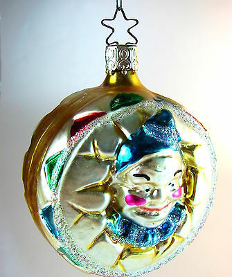 Vintage 1980s German Glass Ornamen:  Colorful CLOWN ON DRUM FORM by Inge Glas
