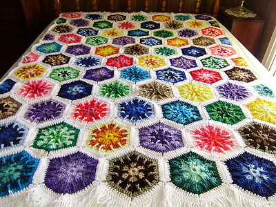 """Gorgeous  Hand Crocheted Kaleidoscope  Afghan 74""""x54"""" with 4"""" Fringe Multi Col"""