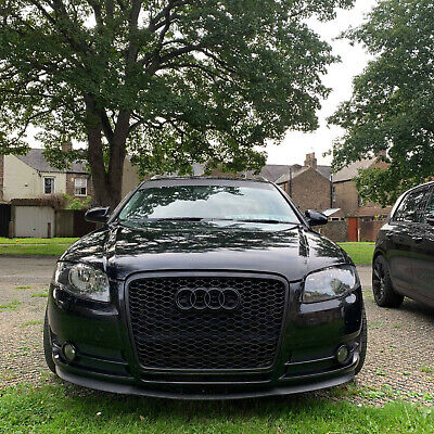 Black honeycomb mesh car grill compatible with Audi A4 B7 2005-2008