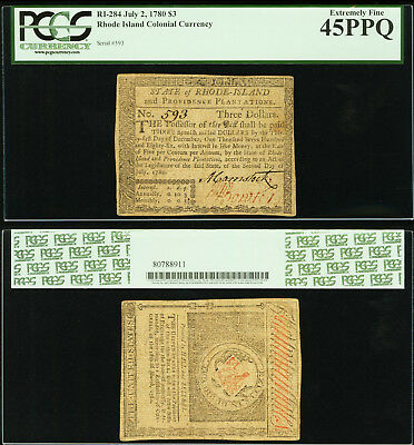 Rhode Island July 2, 1780 $3 PCGS Extremely Fine 45PPQ.