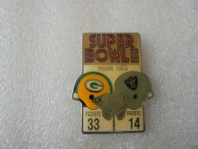 Pin's super bowl II Miami 1968 Green Bay Packers Oakland Raiders lapel pin NFL