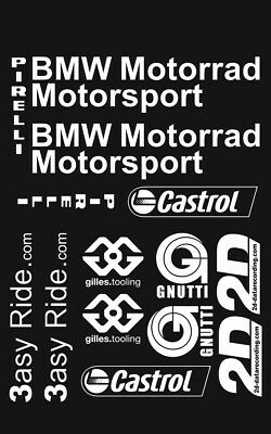 BMW S1000RR Sponsor kit Decals Stickers BMW in WHITE Belly pan adesivi aufkleber