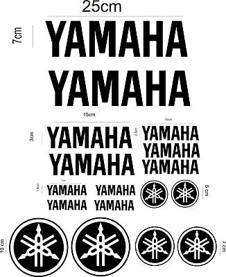 kit 17 adesivi yamaha moto Aufkleber STICKERS DECALS LOGO BLACK