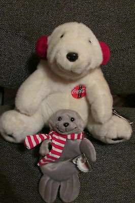 Lot of 2 Coca Cola Plush Bear With Red Ear Muffs 1993 & Seal Bean Bag 1997