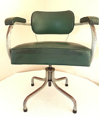 Industrial Office Chair 40s/50s with Vinyl seat unrestored tubular steel legs