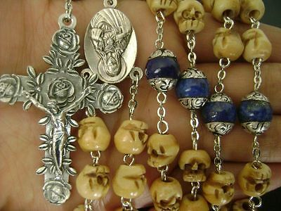 Sterling silver 12MM Lapis lazuli beads & Bone Skull Rosary Bead Necklace Cross