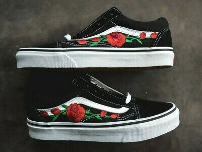 buying now custom sports shoes MADE TO ORDER Custom Vans Old Skool Black/White Rose ...