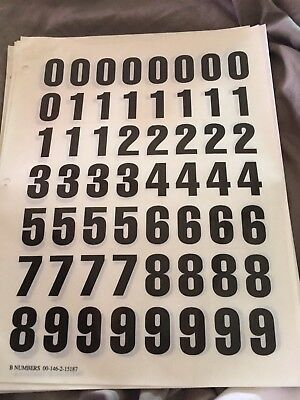 "1""  Black on White Sticky Numbers, Numbering Stickers, Plastic Labels"