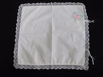 VINTAGE 1930's EMBROIDERED COTTON & BOBBIN LACE BABY'S PRAM PILLOW COVER SHAMS