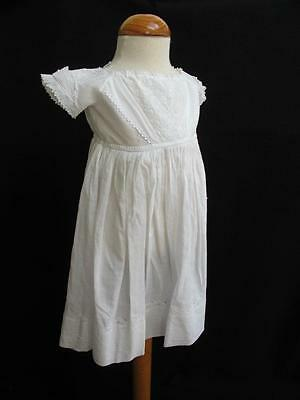 Antique Victorian Ayrshire Embroidered Whitework Childs Gown Dress