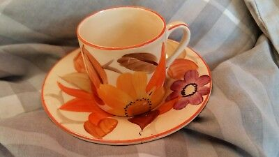 Susie Cooper Grays Art Deco Floral Design Coffee Can And Saucer