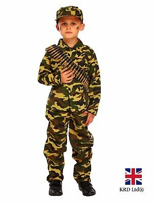 Kids ARMY SOLDIER FANCY DRESS COSTUME Child Boys Book Week Camo Outfit Party UK