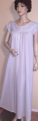 Vintage SHADOWLINE soft blue LONG nylon nighgown Sz L
