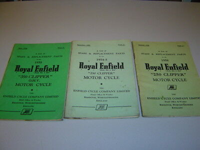 Royal Enfield 250 & 350 Clipper Spare & Replacement Parts List Job-Lot 1955-1958