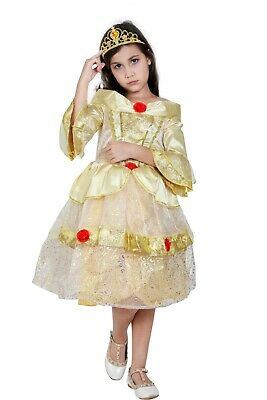 Girls Beauty and the Beast Princess Belle Costume Fairy Party Fancy Dress