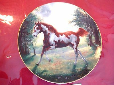 PAINTED SUNRISE  HORSE PLATE BY CHUCK DeHAAN  WITH COA