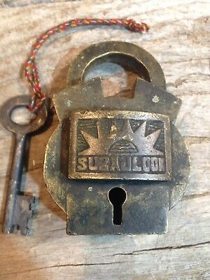 """Vintage Heavy Brass Working Padlock With Key, 3-3/8"""" Tall"""