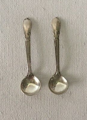 2 Antique Whiting  Sterling Silver Salt Spoons Troubadour?