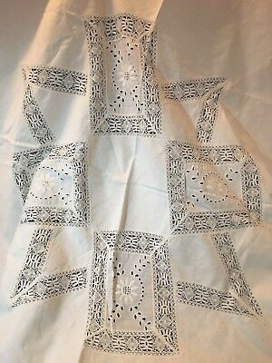 """Ant Lg Round Tablecloth~Bobbin Lace Trim~White on White Embroidery~Cutwork~48""""!"""